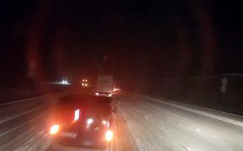 Οπίσθια πρόσκρουση λόγω χιονιά (video)