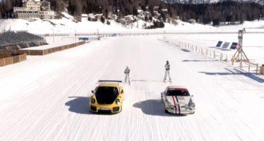 Η Porsche GT2 RS τραβάει σκιέρ πάνω σε παγωμένη λίμνη (video)
