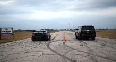 H Cadillac Escalade προκαλεί σε κόντρα την Chevrolet Camaro ZL1 1LE (video)