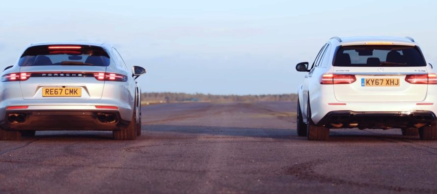 Αντίπαλες δυο station wagon Mercedes και Porsche (video)