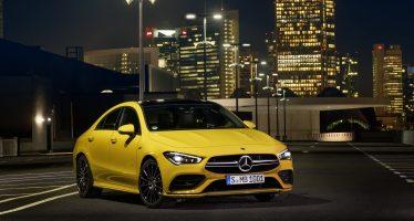 Κίτρινο βέλος που σκίζει την άσφαλτο η νέα Mercedes CLA 35 (video)