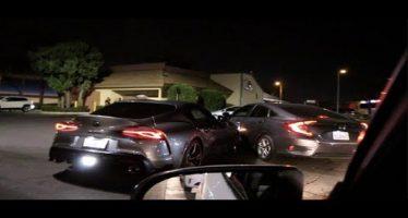 Toyota Supra τράκαρε Honda Civic και την κοπάνησε (video)