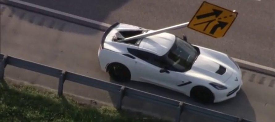 Πινακίδα καρφώθηκε σε Chevrolet Corvette C7
