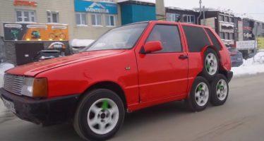 Τρελή μετατροπή ενός Fiat Uno με οχτώ τροχούς! (video)