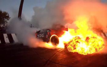 Δείτε πως πήρε φωτιά αυτή η Lamborghini (video)