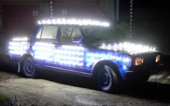 Το Lada που τυφλώνει με εκατοντάδες Led φώτα (video)