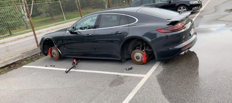 Έκλεψαν τους τροχούς μιας Porsche Panamera